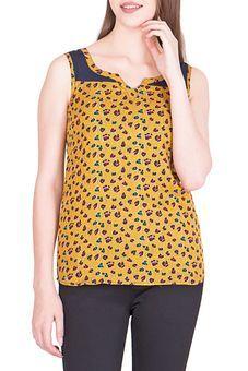 Printed Yellow Top by Simbha Creations, Tops #kurta #kurti #wardrobe #colors #prints #fashion #chic #summery #glitstreet #glitz #glamour #tops #style #trends #
