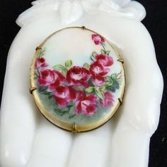 Victorian Porcelain Pin Brooch Hand Painted Roses offered by Ruby Lane Shop, Ornaments.  #Victorian