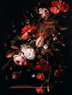 Willem van Aelst (Dutch, 1627-1683):   Blumen in einer silbernen Vase, 1663