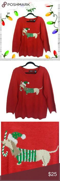 Fa La La La La La Weenie Dog! Sz XXL Super cute and fun Weenie Christmas Swrayer woth a fine red metallic thread throughout. Doogie's sweater and hat also have sequins.  Show your puppy love throughout the holiday season! Excellent like new condition. Sorry no trades. Crystal Kobe Sweaters Crew & Scoop Necks
