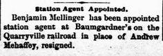 Genealogical Gems: On This Day: Baumgardner receives new station agen...