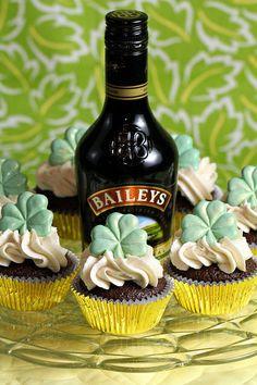 Guiness cupcake with Bailey's Irish Cream frosting. Yum!