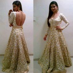 Prachi Desai in a floor length Anarkali LOVE the shape, fit and design of this dress!