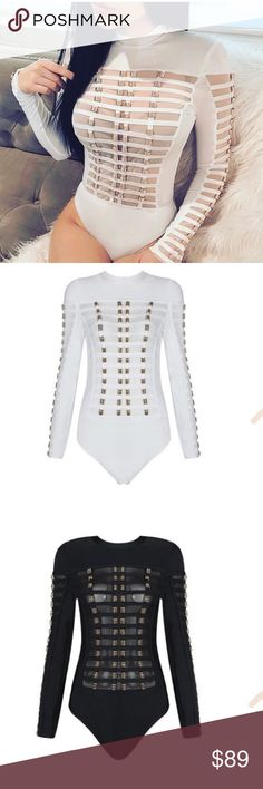 NWT Bandage long sleeve wit gold hardware bodysuit NWT, Available in black or white Tops Blouses