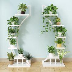 House plants decor - Standing flower shelf Living room & balcony Plant shelf flower pot stands with wood plant