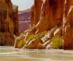 http://artroots.com/art/mattsmith: Great depiction of a bright day in canyon country. Been there--Cataract Canyon on the Colorado River and down the Yampa River. Both trips highly recommended! Note by Roger Carrier