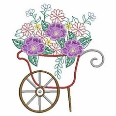 Vintage Floral Cart 9 - 3 Sizes! | Floral - Flowers | Machine Embroidery Designs | SWAKembroidery.com