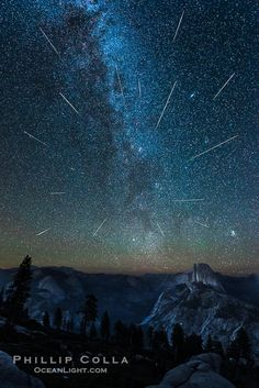 Perseid Meteor Shower and Milky Way, Andromeda Galaxy and the Pleides Cluster, over Half Dome and Yosemite National Park, Glacier Point