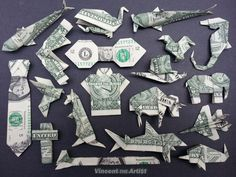 Beautiful Money Origami Art Pieces - MANY DESIGNS! Made of Real Dollar Bills v.2