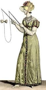 "Young lady playing the ""diabolo"" game, from Costumes Parisiens, 1812 (The game was known as ""The Devil on Two Sticks"" in England at the time; the name ""diabolo"" was only invented later. Regency Dress, Regency Era, Jane Austen, Game Costumes, Empire Style, Edwardian Era, Historical Romance, Fashion Plates, Pattern Making"