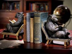 Bear Bookends Set  They look so comfortable sitting there reading!