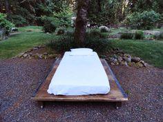 Rustic Wood and Steel Platform Bed Full