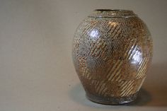 Saltfired ropeinlayed round Vase by GendoCeramics on Etsy, $100.00