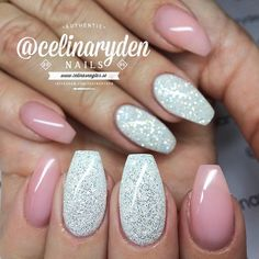 nude pink gel and white diamond glitter nails