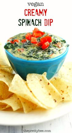 This vegan spinach dip is SO creamy and SO cheesy, you'd never guess that it's dairy free! Make this for your next party, your guests will love it! #vegan