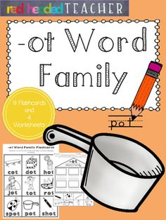 This packet is 5 pages for the -ot Word Family;*Flashcards for students to take home, color, and practice reading*Beginning sounds*Alphabetical Order*Word Family Identification (cut and paste)*Word Family Identification (coloring)