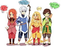 Merida as fire nation, Jack Frost as water tribe, Rapunzel as air nomad, Hiccup as earth kingdom. Priceless