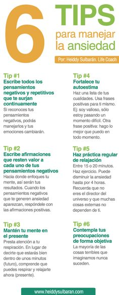 Life Coaching Heiddy Sulbarán. 6 Tips para manejar la ansieda Counseling, Mental Health, Health And Wellness, Health Fitness, Health Diet, Self Improvement, Coaching, Emotional Intelligence, Healthy Mind