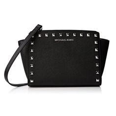 329299b7528b Michael Kors Selma Medium Studded Leather Black Crossbody Handbag