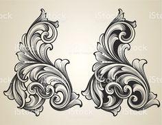 Кованый Scrolls с гравировкой Сток Вектор Стоковая фотография