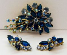 Vtg Verified D&E Juliana Blue AB Rhinestone Brooch Pin & Earrings Set #Juliana
