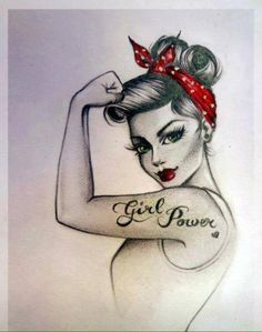 I always loved the idea of a pin up girl tattoo- mine would not say girl power o. - I always loved the idea of a pin up girl tattoo- mine would not say girl power on it however - Pinup Art, Rockabilly Girls, Rockabilly Style, Rockabilly Quotes, Rockabilly Tattoos, Rockabilly Fashion, Tattoo Girls, Girl Tattoos, Tatoos
