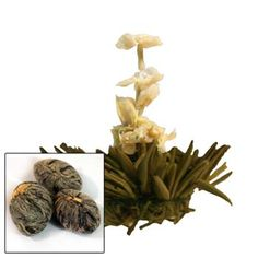 Prices range from $8.80 (1 oz) up to 135.40 (1 lb).  This beautiful presentation tea is formed by pressing green leaves into a tight ball and adding delicate flowers. When infused the slender light green leaves delicately sway in the golden cup and open into a yellow flower with white flowers emerging from its center. The tea has a light and refreshing taste with floral notes.