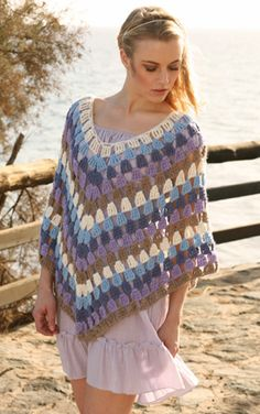 """Crochet DROPS Poncho in 2 threads """"Alpaca"""". Size S-XXXL ~ DROPS Design. I'll have to find a nice spring dress for one of my girls and match the colors! Crochet Poncho Patterns, Crochet Shawls And Wraps, Crochet Scarves, Crochet Clothes, Scarf Patterns, Knitting Patterns, Pull Crochet, Free Crochet, Knit Crochet"""