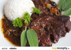 Hovězí líčka na černém pivu, šalvěji a hříbkách recept - TopRecepty.cz Meatloaf, Ham, Food And Drink, Menu, Cooking, Recipes, Belly Dance, Facebook, Diet