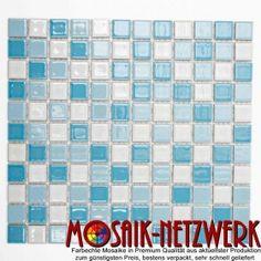 Musivo mix blau glänzend Keramikmosaik Fliese 25x25 mm - Art: 18-0407 | 1 Bogen | www.Mosaik-Netzwerk.de