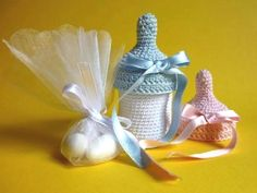 Baby bottle favors - crochet pattern