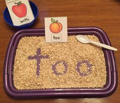 """Sight Words - Yummy Oats! Learning how to spell sight words can be tricky for some students. This center provides a fun, hands on activity to help your class strengthen their spelling skills. Students draw a """"toppings"""" card and write the word in the oats using their fingers or spoon. Another option is to have one player read the word and the other player write the word in the oats. Blank cards are provided to add words or even numbers! It's a great sensory activity and is ver..."""