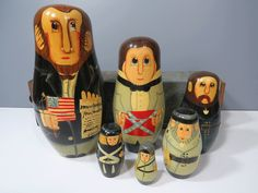 Abe Lincoln & Civil War Generals Nesting Doll Set, 6 Piece Set, 4th of July, Independence Day, Emancipation Proclamation by UrbanRenewalDesigns on Etsy