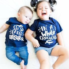 See Ya Later Alligator After While Crocodile Baby Infant Newborn Twins Matching Outfit Photoshoot Bodysuits Toddler Tees Boy Girl Unisex Sibling Shirts, Sister Shirts, Family Shirts, Newborn Twins, Newborn Baby Photography, Baby Shower, Kids Shorts, Matching Outfits, Kids Fashion