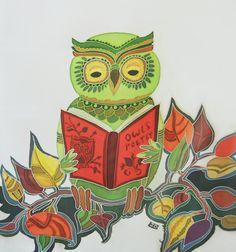 Owl Reading Poetry, via Etsy.