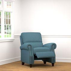 ProLounger Caribbean Blue Linen Push Back Recliner Chair