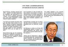 La ONU pide a empresarios que inviertan ecológicamente #Pymes #DesarrolloSustentable @400revista #Revista400