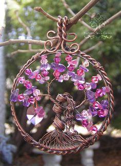 Alambre del árbol de la vida de Afrodita envuelta colgante joyas cristales Swarovski amatista rosa turmalina