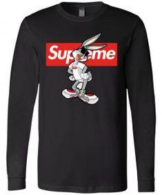 Bug Bunny Rabbit Supreme Long Sleeve - UnicornAZ - Fortnite, Sport, Trending apparel Bugs Bunny, Bunny Rabbit, Bella Canvas, Supreme, Sport, Long Sleeve, Sleeves, Cotton, Mens Tops