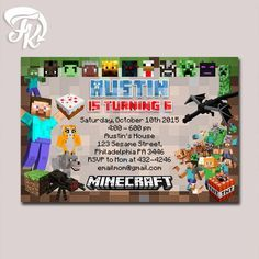 Free printable minecraft birthday party invitation kids parties minecraft invitation printable birthday party card digital invitation birthday card party for boys and girls filmwisefo