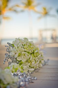 Splendid  Lime Hydrangea decor at Key Largo Lighthouse Beach Wedding Venue in the Florida Keys