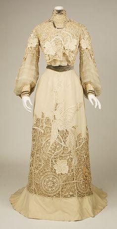 Dress, off-white cut work Date: 1904 Culture: American Medium: silk Accession Number: C.I.40.106.41a, b The Metropolitan Museum of Art
