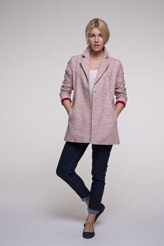 Manteau d'été femme rouge en coton. Fabriqué en Europe. Collection été 2016.