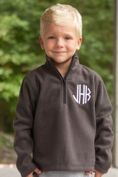 "Fall is in the air and this Southern Tots classic is perfect! Our boy's charcoal monogrammed fleece are perfect to wear over tops to keep your little warm cozy warm in the fall air. This is a must have basic piece for fall, back to school and the holidays. Available in a variety of colors for both girls and boys. <a href=""http://www.southerntots.com/wp-content/uploads/PreOrderBanner-e1407511275792.jpg""><img class=""alignnone size-medium wp-image-11633"" alt=""Preorder Smocked ..."