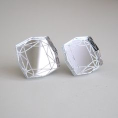 Mirror Princess Cut Stud Earrings Statement Diamond - Laser Cut Acrylic Perspex. $12.00, via Etsy.