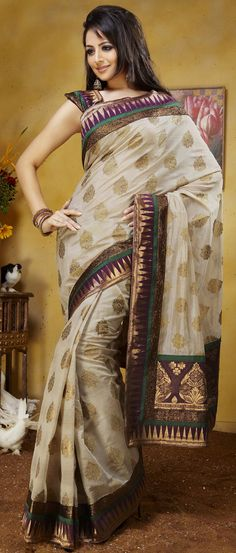 Cream Art #Silk #Saree with Blouse @ $59.01 | Shop @ http://www.utsavfashion.com/store/sarees-large.aspx?icode=skk13623