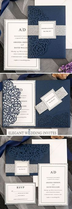 Elegant Navy Blue Rose Laser Cut Pocket Wedding Invitations with Glitter Belly Bands and Tags EWWS189