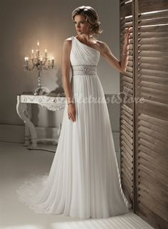 This use one shoulder chiffon wedding dress design, design inspiration in ancient Greece of the noble women, light and materials, even in the heat of the summer will not make the bride feel hot, hand-sewn, prices are definitely affordable