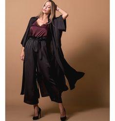 Σατέν Φόρεμα Κιμονό - Μαύρο