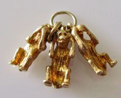 9ct Gold Three Wise Monkeys Charm by TrueVintageCharms on Etsy